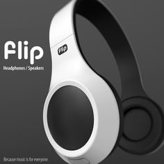 "The Flip Headphones - ""The Flip is a hybrid speakers and headphones concept. With two modes to use them, the flick of a switch allows you to stream music straight into your ears or share it with friends. Both modes work with your devices using a headphone jack or USB, depending upon how you want to go about it..""  Designer: Oliver Sha"