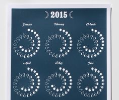 2015 MOON CALENDAR in Night Sky  Silkscreen Print by rendij
