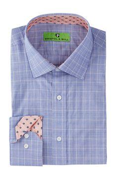 Bristol & Bull   Square Medallion Trim Glen Plaid Regular Fit Dress Shirt