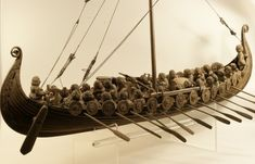 Viking ships, model from the old permanent exhibition on the museum Östergötland