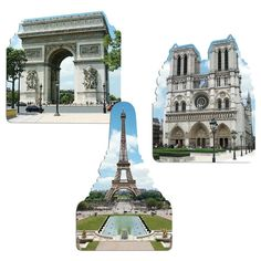 """French"" Cutout displays all the beautiful places you would see if you go on holiday to Paris. Cutout measuring 18"" includes pictures of Eiffel Tower, Notre Dame and the Arch de Triumph, sold as 9 per"