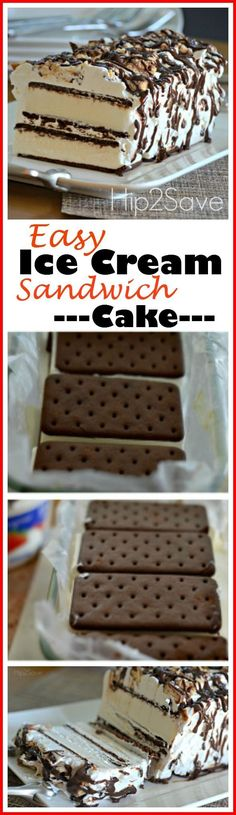 This is so simple to make, super tasty and looks A-M-A-Z-I-N-G! Ice Cream Sandwich Cake - Enjoy this wonderful and super easy ice cream sandwich recipe during those summer days. Easy to make, and delicious melt in your mouth goodness. Ice Cream Treats, Ice Cream Desserts, Ice Cream Recipes, Diy Ice Cream Cake, Ice Cream Birthday Cake, Cookie Cake Birthday, 13 Desserts, Frozen Desserts, Delicious Desserts