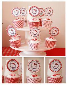 cupcakes p a festa de Hello Kitty!,,, Cupcakes at a Hello Kitty Party 3rd Birthday Parties, Girl Birthday, Birthday Ideas, Decoracion Hello Kitty, Anniversaire Hello Kitty, Hello Kitty Cupcakes, Hello Kitty Themes, Hello Kitty Birthday, Cat Party