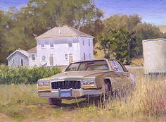 """Richard's Cadillac - Oil on canvas 12"""" x 16"""""""