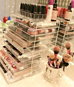 MUJI acrylic drawers (use to store everyday makeup) | Makeup Storage / Organization - Organise by brand & colour (Gold, silver)