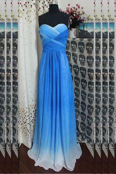 Gradient Ombre Chiffon Beaded Long Prom Dresses ED0647