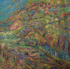 """Lodge Overlooking Hidden Lake  Acrylic On Canvas  36"""" x 36""""  2014"""