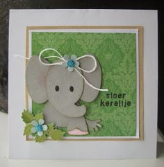 T T elephant twine bow Baby Cards, Kids Cards, Marianne Design Cards, Wedding With Kids, Butterfly Cards, Animal Cards, Baby Scrapbook, Punch Art, Baby Design