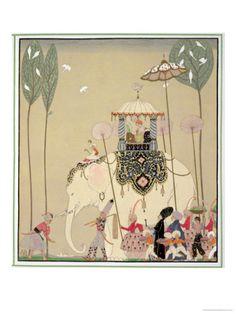 A Celebration of Illustration: Gallery of Illustrations by the French Illustrator George Barbier, Master of Art Deco, Fashion, and Storybook Illustration Art Deco Illustration, Moda Art Deco, Art Deco Stil, Edmund Dulac, Elephant Art, Elephant Ride, Vintage Elephant, Indian Elephant, Art Deco Fashion