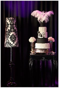 Black and White Cake with Feathers