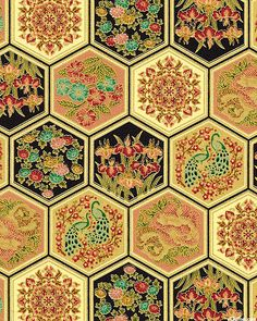 Asian Fanfare - Lacquered Tiles - Quilt Fabrics from www.eQuilter.com
