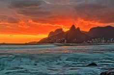 Arpoador, Rio de Janeiro, Brazil - At the tip of the famous Ipanema beach, it is a favorite place for locals to watch the sunset. It is also a good surfing spot.#brazil #travel