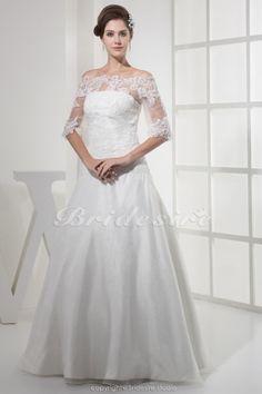 A-Linie Carmen-Ausschnitt bodenlang Halbe Ärmel Organza Spitzen Brautkleid - $187.99