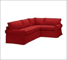 Red sectional couch. PB Basic Left Chaise Sofa Sectional Slipcover