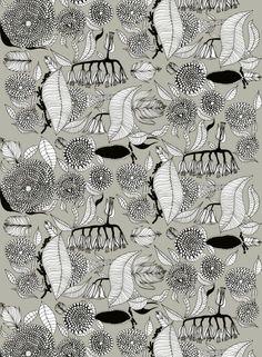 Kaino-pellava (beige, musta, valkoinen) |Jenni Tuominen | Marimekko