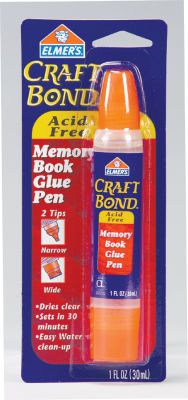 Elmer's Craft Bond Memory Book Glue Pen is acid free and great for use in all aspects of scrapbooking and paper crafts. It comes in an easy to use 1-ounce pen with a fine point tip for detailing and pin point placement of adhesive on tiny surface areas and a wide spreader tip for larger applications.    COMMONLY USED SURFACE-TO-SURFACE APPLICATIONS ARE:    Paper