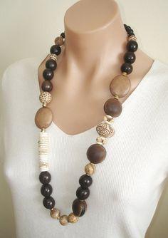 Ashira Carved Wood Sim. Bone, White Turquoise, Ebony Wood, Petrified Wood Jasper Sea Bean - Bohemian, Africans
