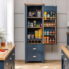Blue Painted Furniture, Led Furniture, Furniture Market, Pantry Cupboard, Kitchen Cupboards, Kitchen Storage, Cabinets, Kitchen Pantry, Storage Spaces