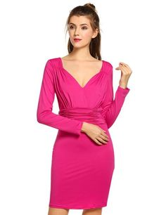 Purple Deep V-Neck Long Sleeve with Elastic High Waist Pleated Party Dresses