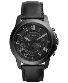Fossil Men's Chronograph Grant Black Leather Strap Watch 45mm FS5132 - Men's…