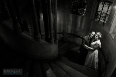 Wedding portrait on the staircase at Manchester Town Hall