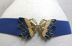 Vintage 1980s Blue Belt Elastic Butterfly Clasp Size 8-10 uk Retro New Wave
