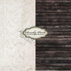 Combo 5' Vinyl Photo Backdrop Floor Vintage Damask Grunge Black Stained Wood | eBay