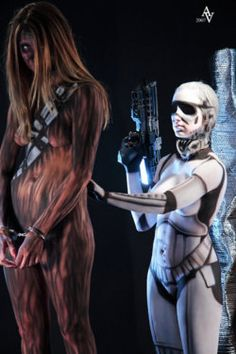 Are thy...naked, body painted as star wars.