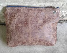 Vintage Leather Pouch, 7w x 5t, Vegan Leather Pouch, purseBag, Pouch, Makeup Bag, Toiletry Bag, Brown Leather Zip Pouch, Vintage Makeup Bag, by PandenteDesigns on Etsy