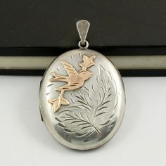 Vintage Sterling Silver Bird Locket Rose Gold Victorian by mybooms
