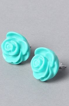 The Flush Rose Earring in Aqua by *The Extras | Karmaloop.com - Global Concrete Culture - StyleSays
