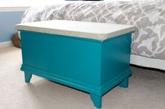 IKEA Hack: Storage Ottoman, turned a $2 box from the junk section at IKEA into a storage ottoman!