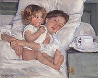 """Mary Cassat, """"Breakfast in Bed"""" (c. 1897), oil on canvas"""