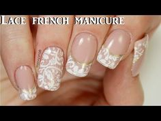 #190 ~Lace french manicure | Yours cosmetics stamping plate | Dutchnailss ~ - YouTube