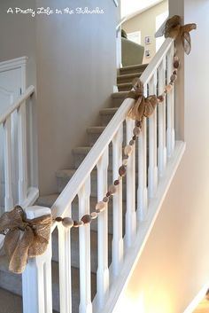 "burlap.  Love this!  The fire retardant stuff in pine garland makes me itch and turn red.  I wanted my husband to put it up but he said, ""How would you get down the stairs?"" Ha!  (Slight heights phobia.  I always hold the railing)  This makes me happy!"