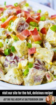 how to make potato salad the easy way, red skin potato salad with bacon Potato Salad With Bacon, Potato Salad Dill, Red Skin Potatoes Recipe, How To Make Potatoes, Potato Side Dishes, Potlucks, Food 52, Potato Recipes, Salad Recipes