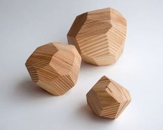 """""""On the Rocks tabletop sculpture - Set of wooden gems, multi-faceted, rock sculpture, upcycling"""" by StudioLicious on Etsy. Rock Sculpture, Sculptures, All The Small Things, Wood Toys, Wood Design, Geometric Shapes, Geometric Decor, Wood Art, Decoration"""