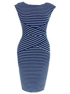 Charming&chic Boat Neck Cotton Striped Bodycon-dress | fashionmia.com