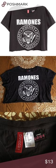 Ramones Band Tee Crop Top H&M Divided Crop Top t-shirt fits anywhere from xs - m Divided Tops Crop Tops