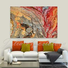 Print on Canvas, Abstract Painting, Red and Gold, Colorful Wall Art, Silver and…