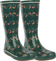 Miami Hurricanes Women's Dark Green  Rubber Rain Boots