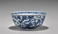 """Large Chinese Ming Dynasty, Xuande Mark and of the Period, blue and white porcelain bowl of footed form; the exterior and interior painted with motif of the """"Three Friends of Winter"""" (suihan sanyou): pine, bamboo and plum blossom; D: 10 3/4"""""""