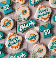 Birthday Decorations, Birthday Ideas, Happy 50th Birthday, Party Ideas, Gift Ideas, Icing Recipe, Miami Dolphins, Cookie Ideas, Royal Icing