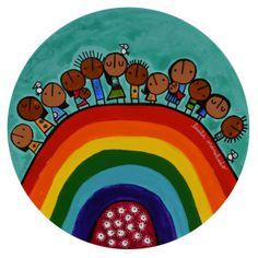 de la serie HABITANTES- 30cm diametro-tecnica mixta sobre madera-C008 Arte Popular, Art For Kids, Folk Art, Origami, Reflection, Canvas Art, Wallpaper, Creative, Illustration