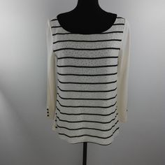 Ann Taylor Loft Blouse Small Cream Black Polka Dot Striped 3/4 Sleeve Womens Top #AnnTaylorLOFT #Blouse #Career