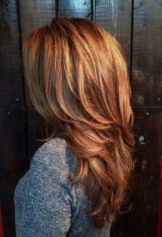 Light copper and golden blonde balayage gwen - hair cabello, cortes de pelo Copper Blonde Hair, Golden Blonde Hair, Golden Copper Hair, Auburn Balayage, Blonde Balayage, Medium Hair Styles, Short Hair Styles, Hair Color And Cut, Hair Cut