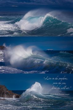 """Giant waves with inspiring quote: """"Live in the sunshine, swim the sea, drink the wild air."""" Ralph Waldo Emerson, essayist.  Prints available at http://giovanni-allievi.artistwebsites.com/art/all/inspiring+quotes/all"""