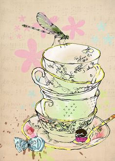 dragonfly tea. Lovely sketch. Should try this at our High Tea Sketching.