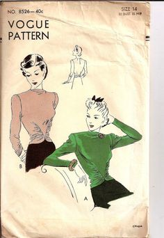 Vogue pattern Vintage 1940s Stunning Blouse Bust by Reddoll1940s, $20.00