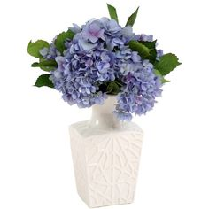 Silk Hydrangea Arrangement In White Vase.
